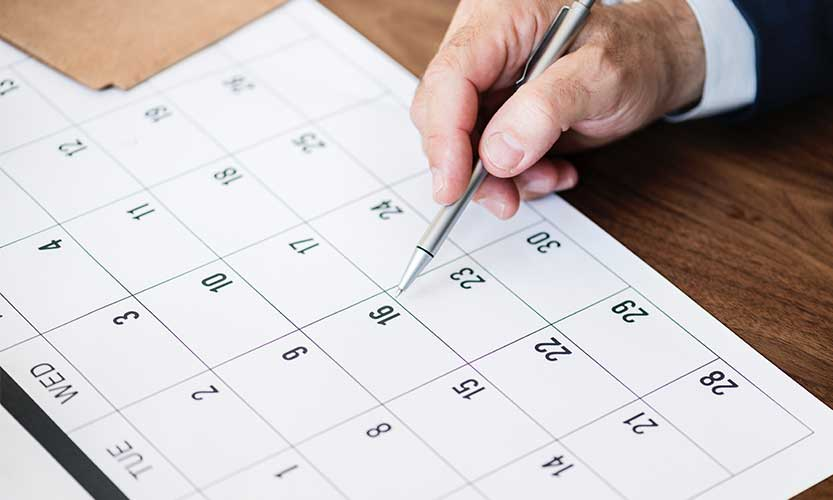 Calendrier 2019 des temps forts d'un programme cartes cadeaux